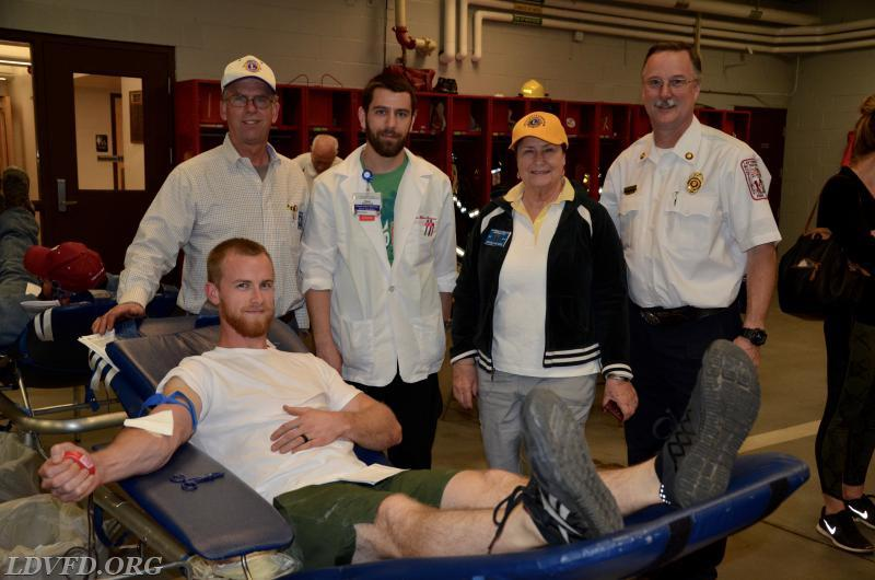 Photos taken by: Mike Russ Left to Right: Kevin Curran, Sean McDermott (Inova Fairfax), Carol Kearse, LDVFD President Greg Albrecht, Luke Curran (Donor)