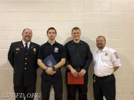From Left to Right: President Mike Eanes, EMT Matt Cox, FF Evan Kinsley, Vice President Mike Russ